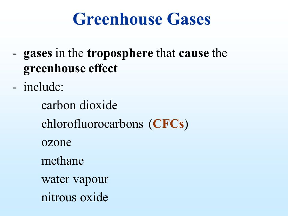Greenhouse Gases gases in the troposphere that cause the greenhouse effect. include: carbon dioxide.