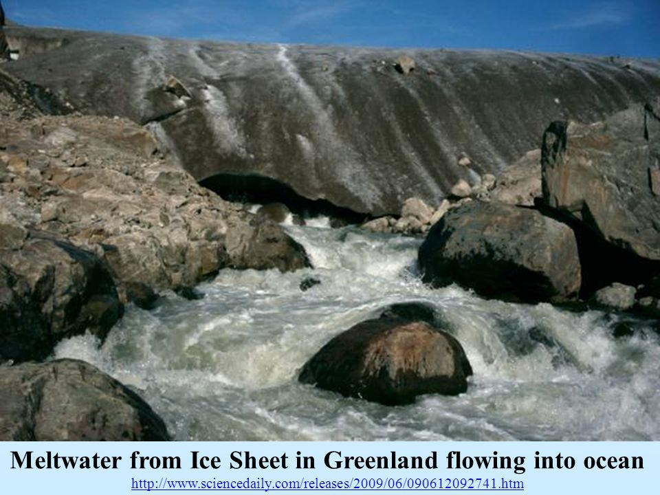 Meltwater from Ice Sheet in Greenland flowing into ocean