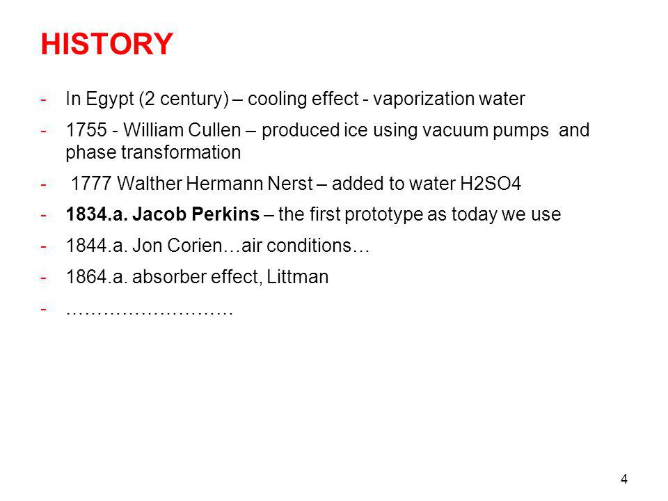 HISTORY In Egypt (2 century) – cooling effect - vaporization water