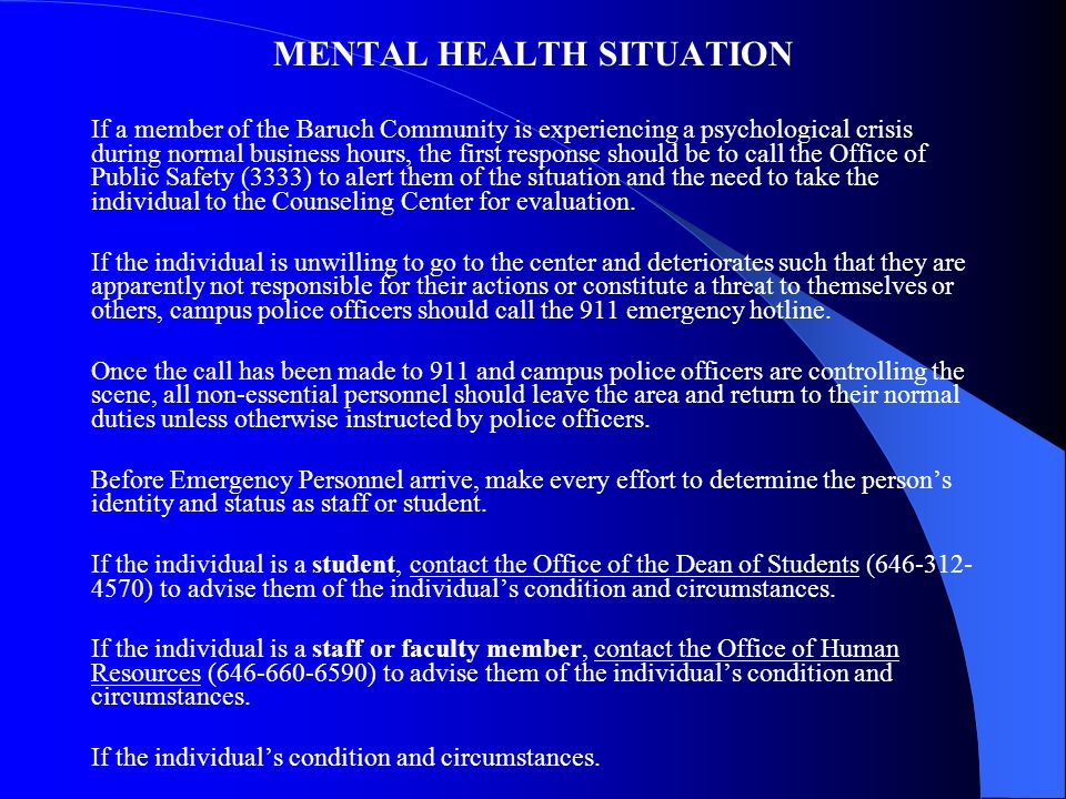 MENTAL HEALTH SITUATION