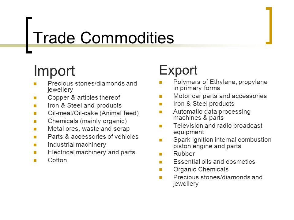 Trade Commodities Import Export Precious stones/diamonds and jewellery