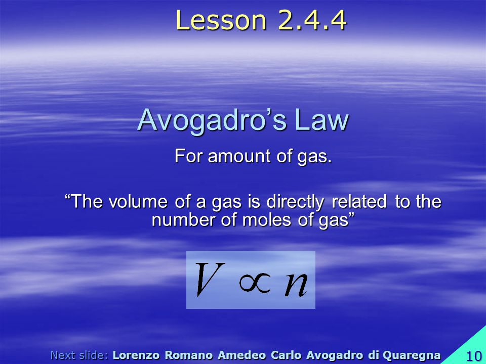 Avogadro's Law Lesson For amount of gas.