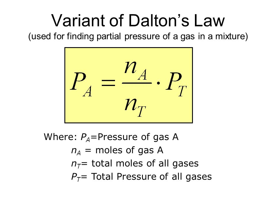 Variant of Dalton's Law (used for finding partial pressure of a gas in a mixture)