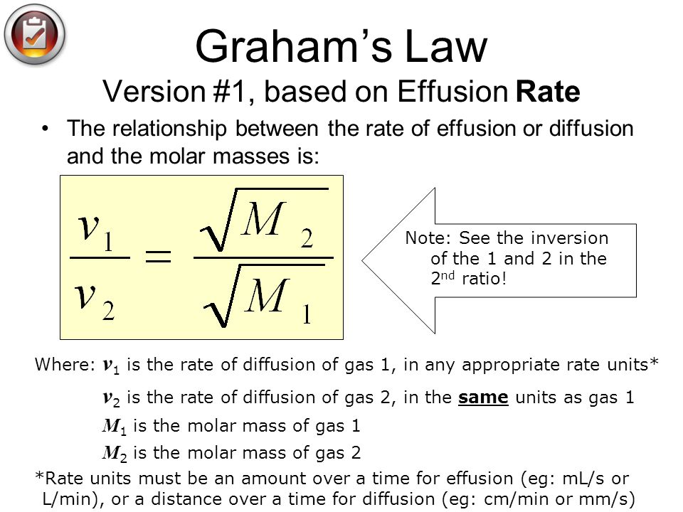 Graham's Law Version #1, based on Effusion Rate