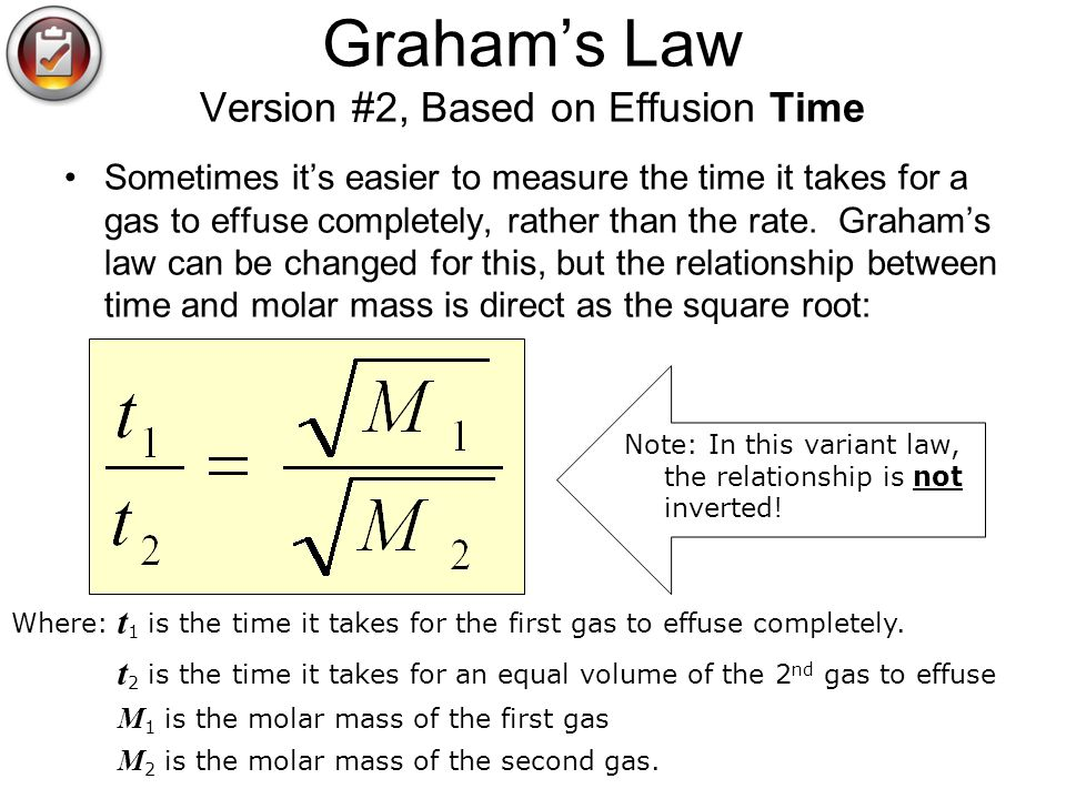 Graham's Law Version #2, Based on Effusion Time