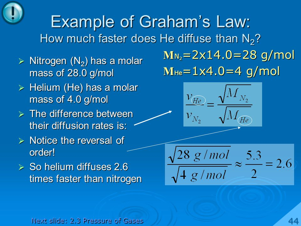 Example of Graham's Law: How much faster does He diffuse than N2