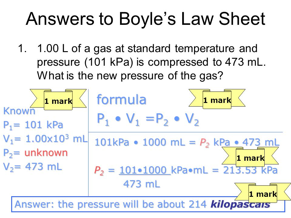 Answers to Boyle's Law Sheet