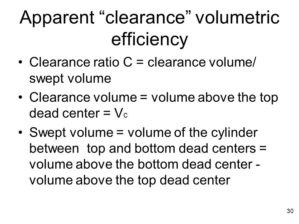 Apparent clearance volumetric efficiency