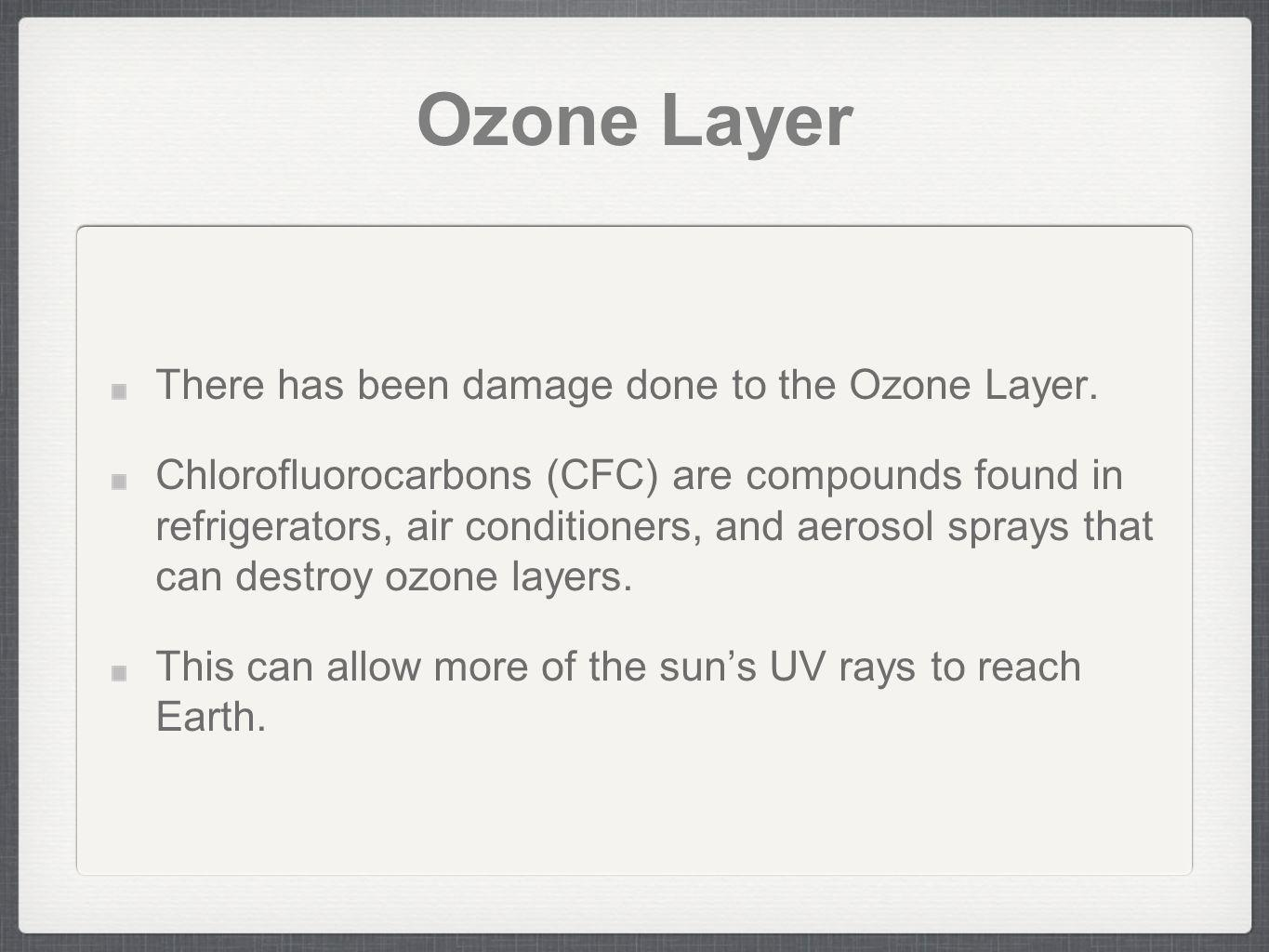 Ozone Layer There has been damage done to the Ozone Layer.
