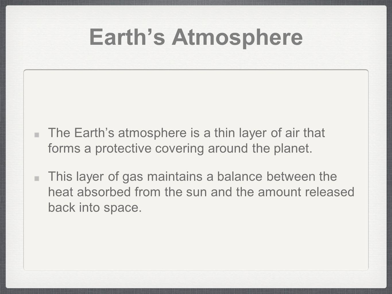 Earth's Atmosphere The Earth's atmosphere is a thin layer of air that forms a protective covering around the planet.