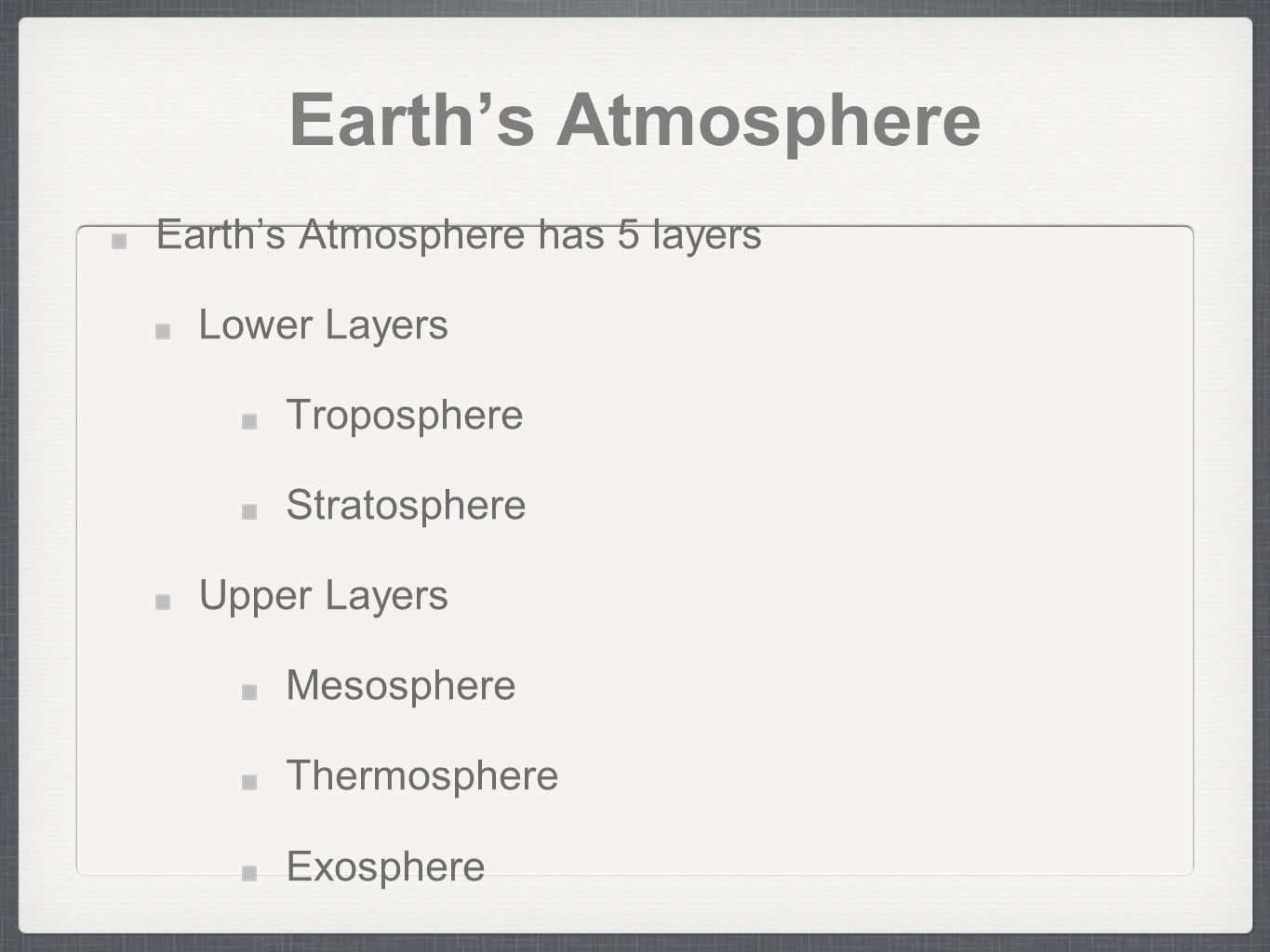 Earth's Atmosphere Earth's Atmosphere has 5 layers Lower Layers
