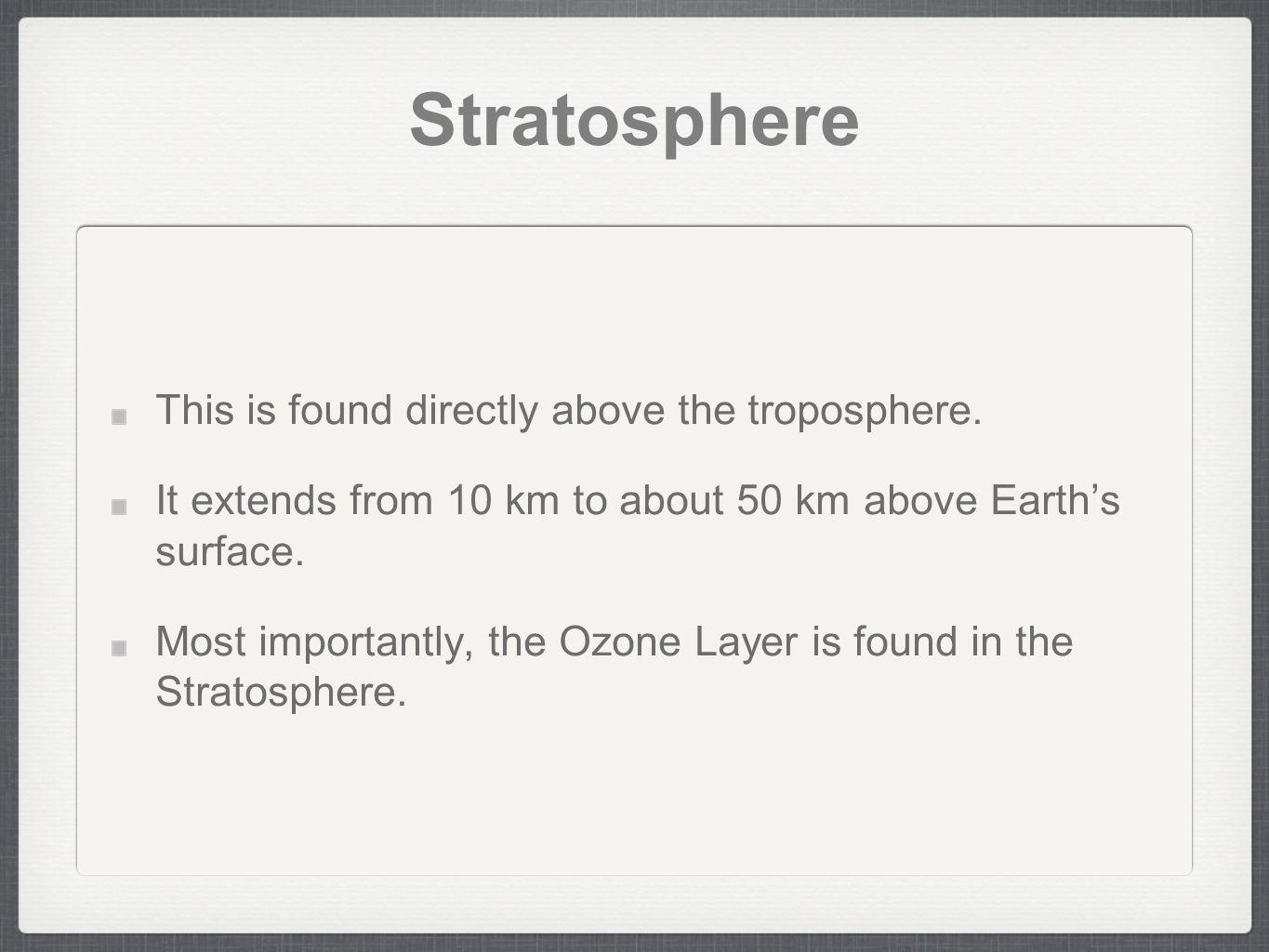 Stratosphere This is found directly above the troposphere.
