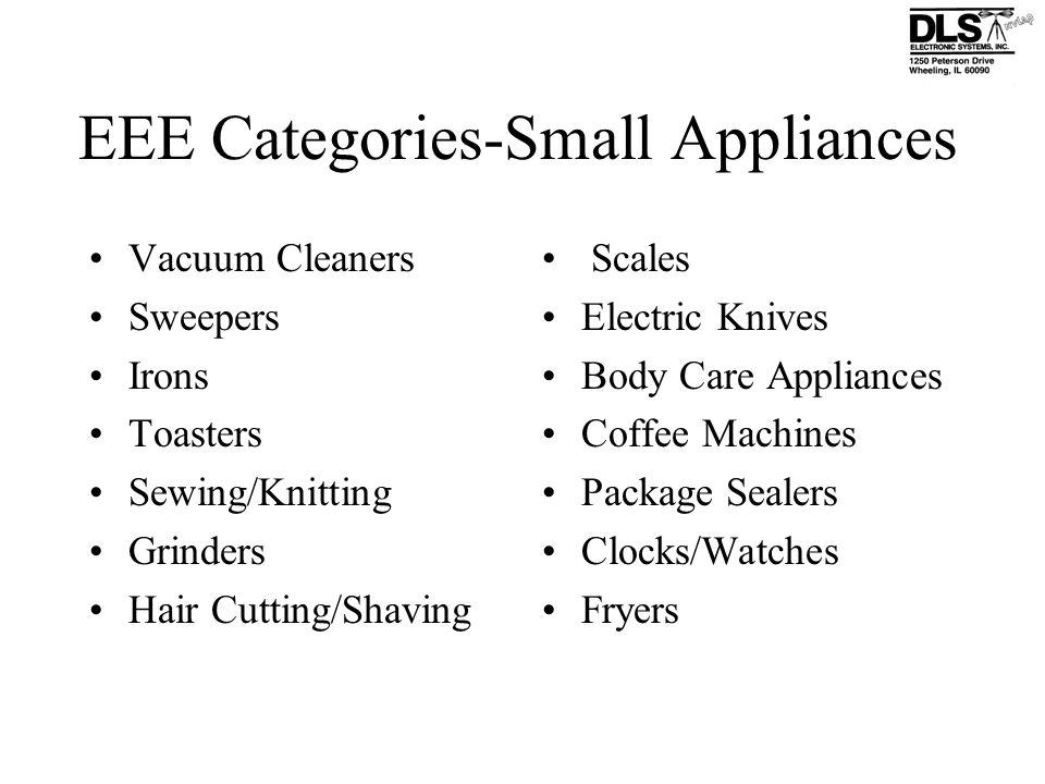 EEE Categories-Small Appliances
