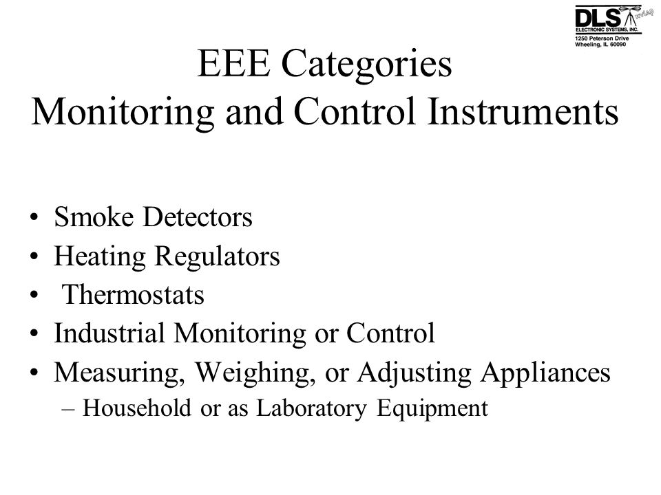 EEE Categories Monitoring and Control Instruments