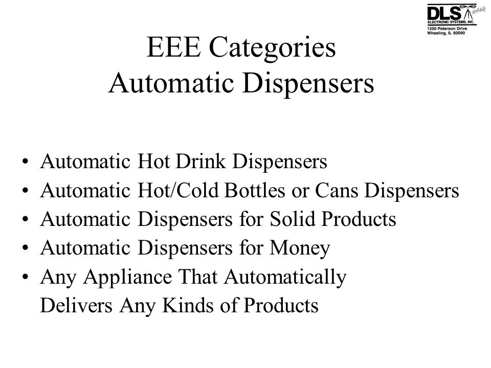 EEE Categories Automatic Dispensers