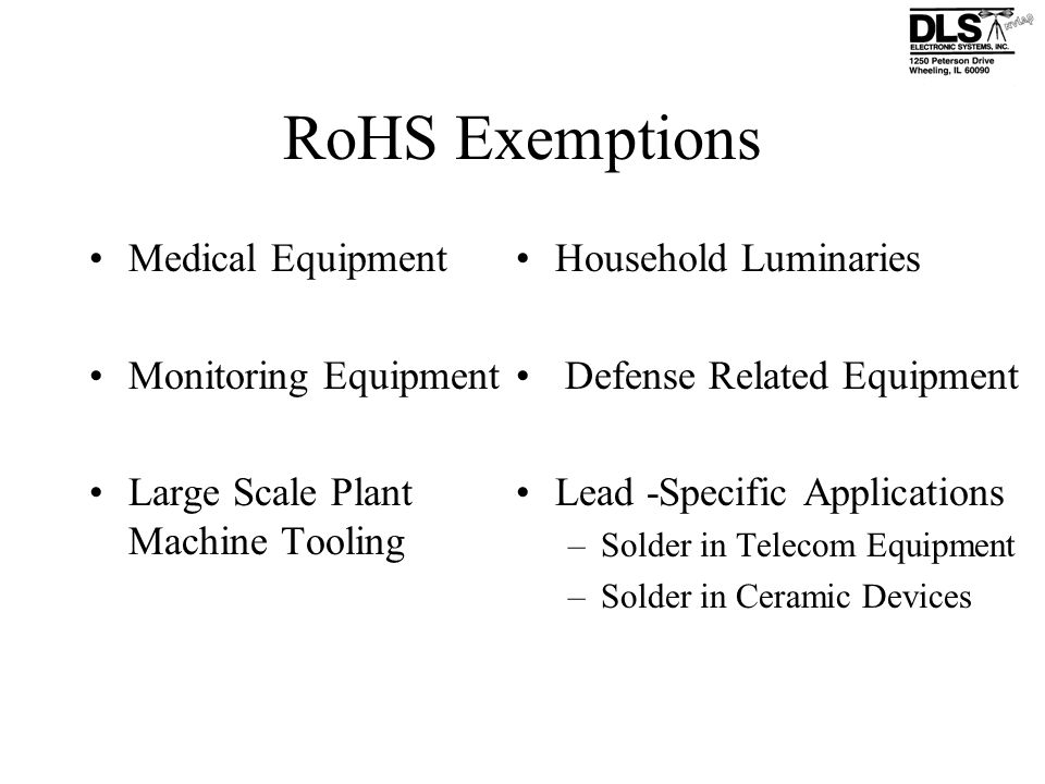 RoHS Exemptions Medical Equipment Monitoring Equipment