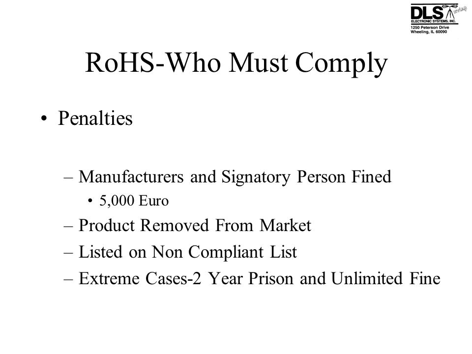 RoHS-Who Must Comply Penalties
