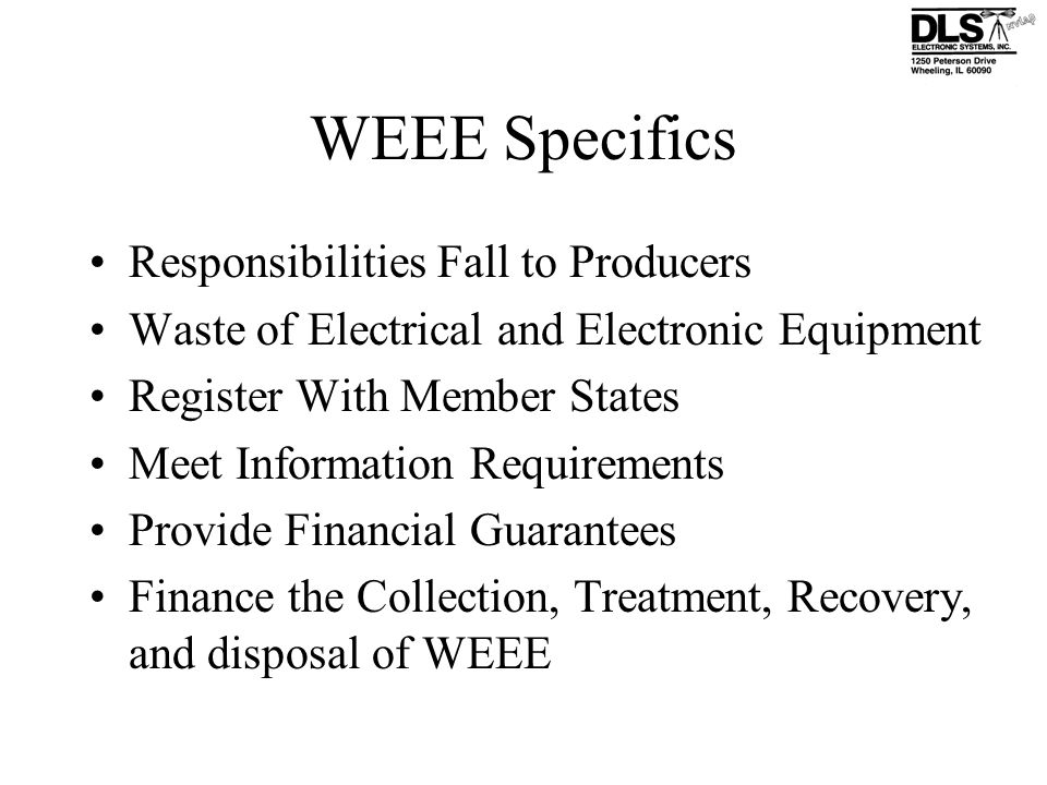 WEEE Specifics Responsibilities Fall to Producers