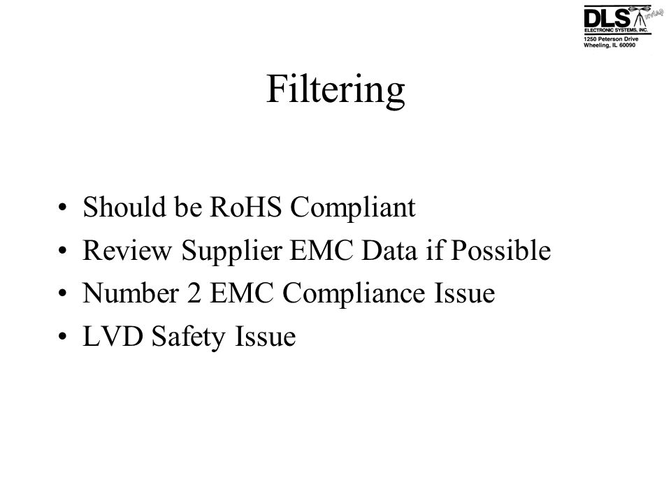 Filtering Should be RoHS Compliant