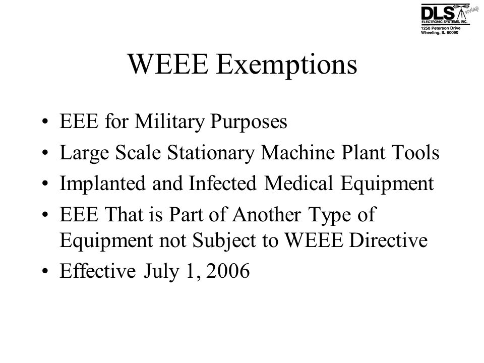 WEEE Exemptions EEE for Military Purposes