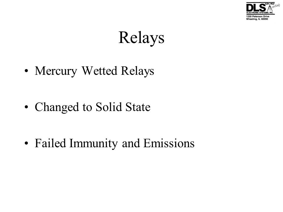 Relays Mercury Wetted Relays Changed to Solid State