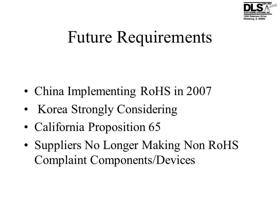 Future Requirements China Implementing RoHS in 2007