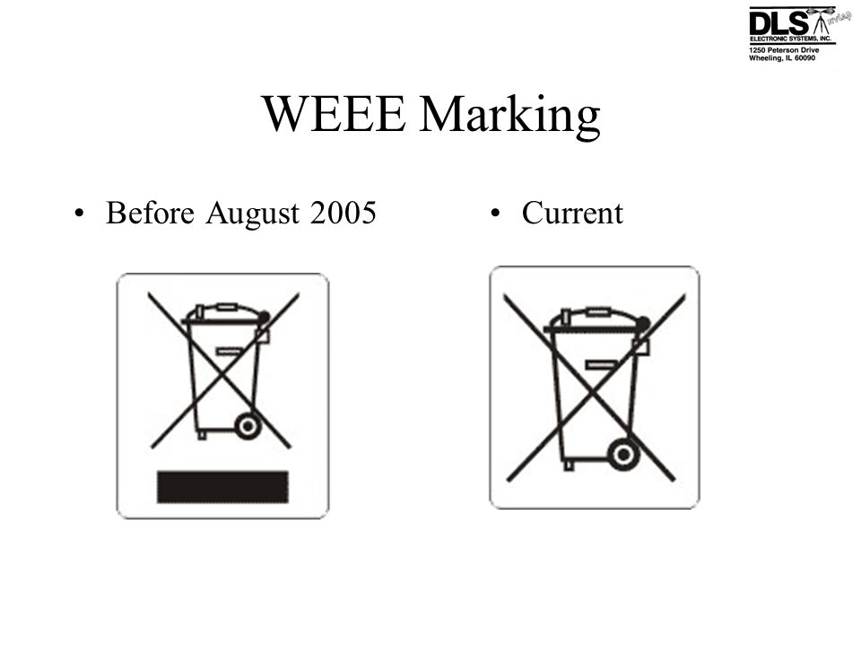 WEEE Marking Before August 2005 Current