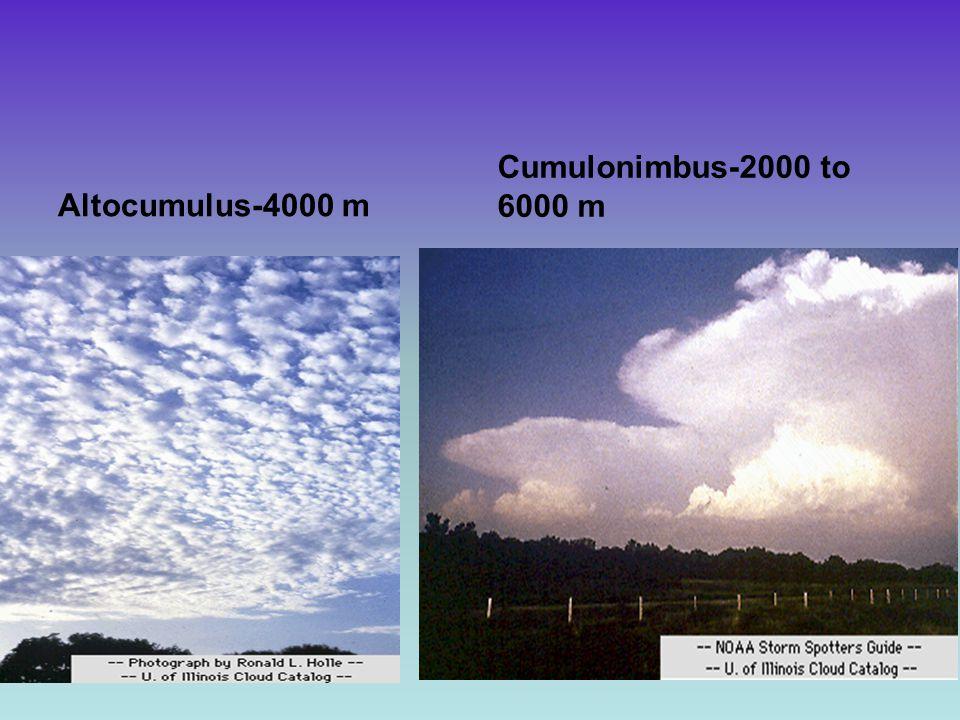 Altocumulus-4000 m Cumulonimbus-2000 to 6000 m