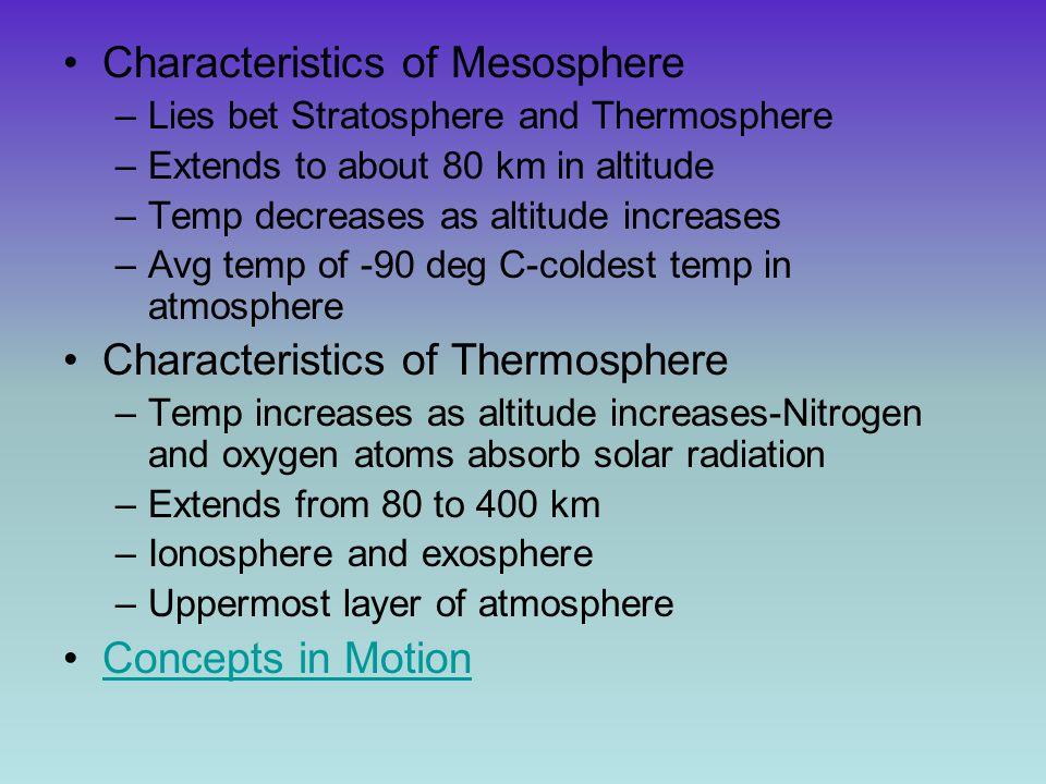 Characteristics of Mesosphere