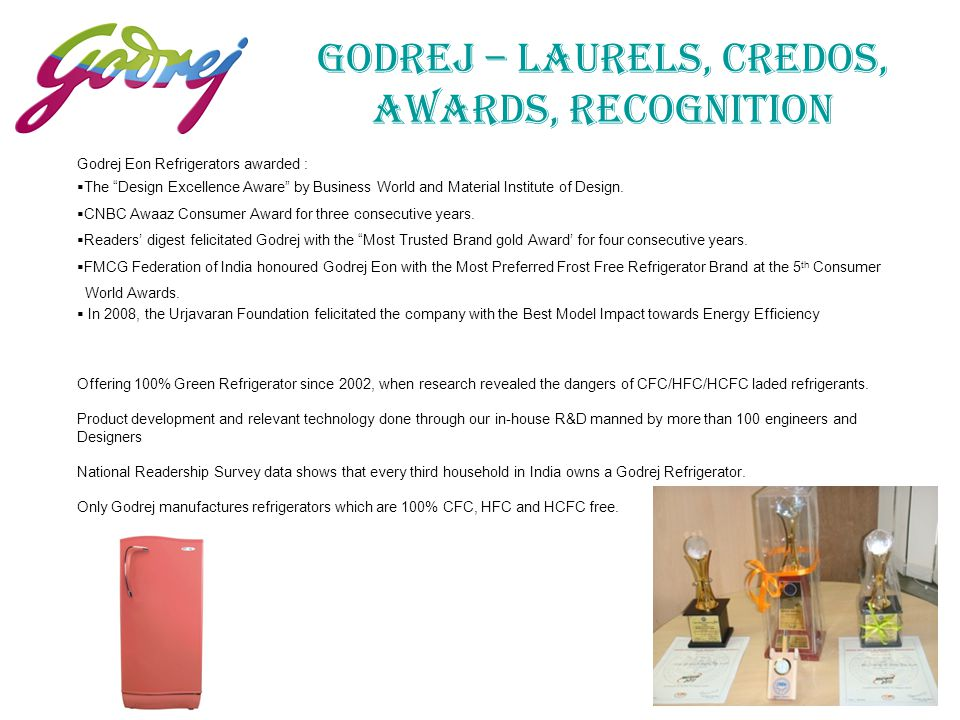 GODREJ – Laurels, Credos, Awards, Recognition
