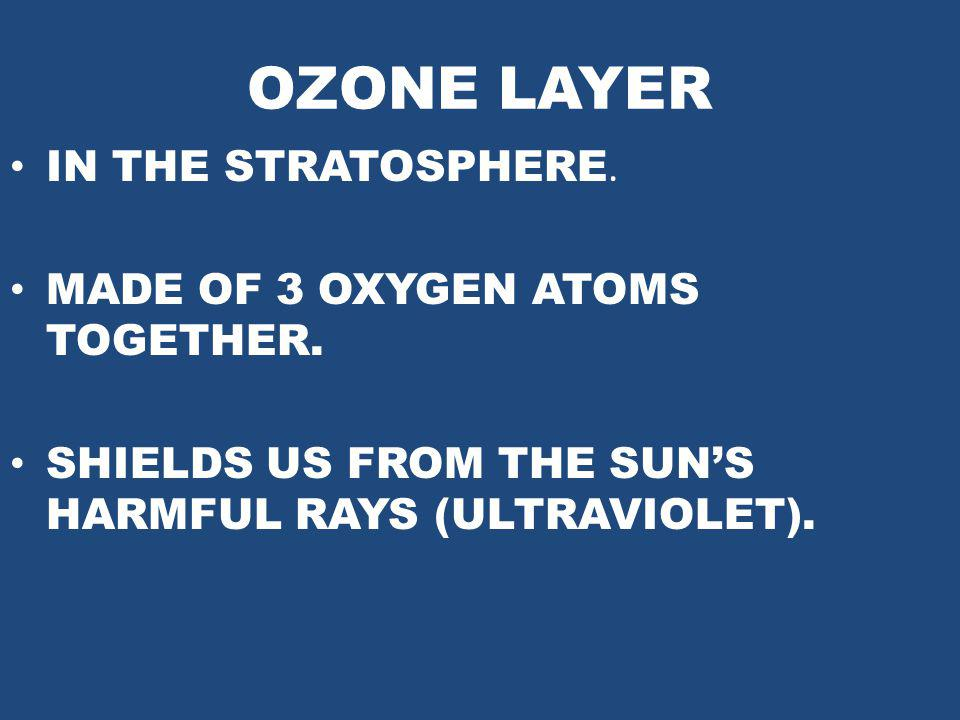OZONE LAYER IN THE STRATOSPHERE. MADE OF 3 OXYGEN ATOMS TOGETHER.