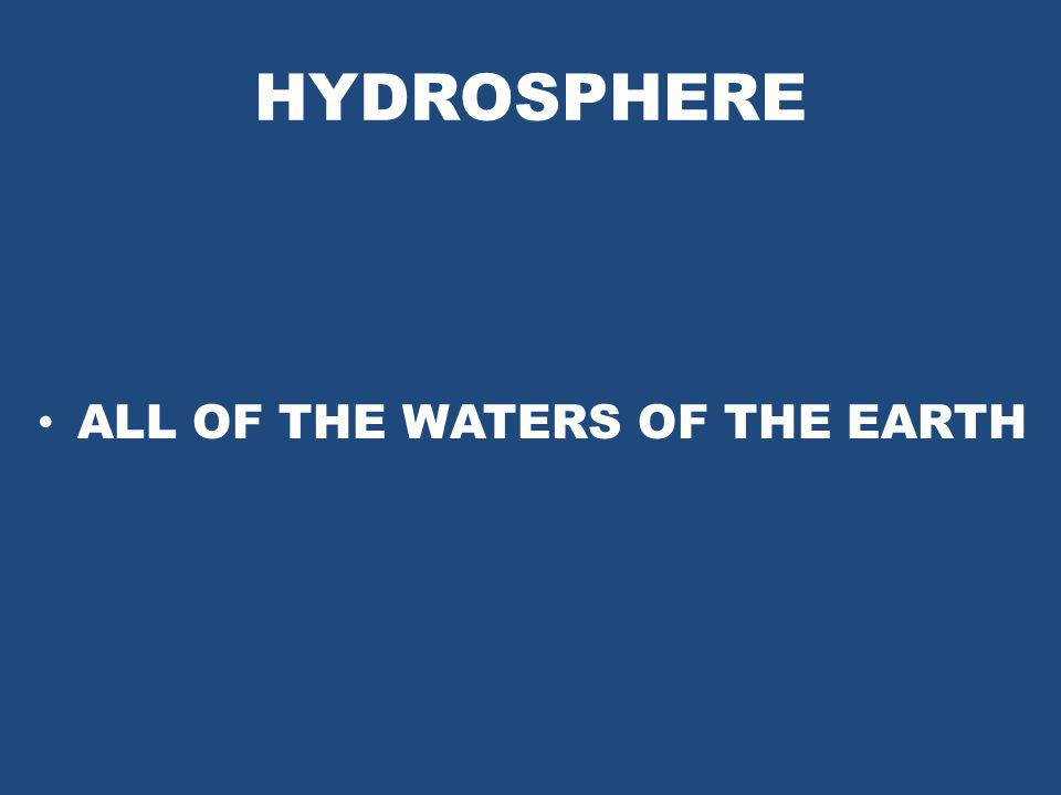 HYDROSPHERE ALL OF THE WATERS OF THE EARTH
