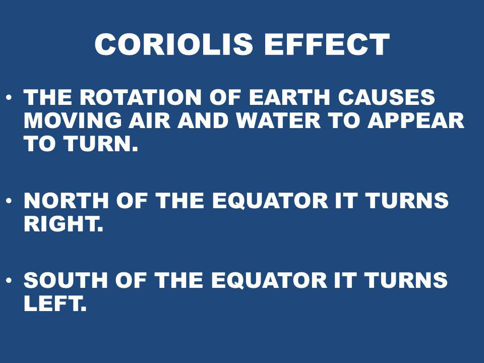 CORIOLIS EFFECT THE ROTATION OF EARTH CAUSES MOVING AIR AND WATER TO APPEAR TO TURN. NORTH OF THE EQUATOR IT TURNS RIGHT.