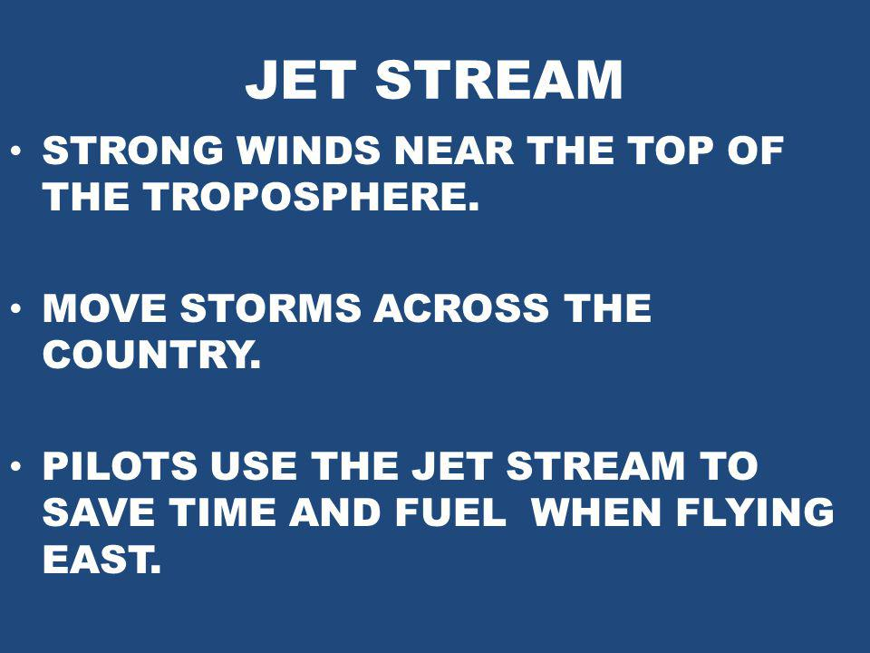 JET STREAM STRONG WINDS NEAR THE TOP OF THE TROPOSPHERE.