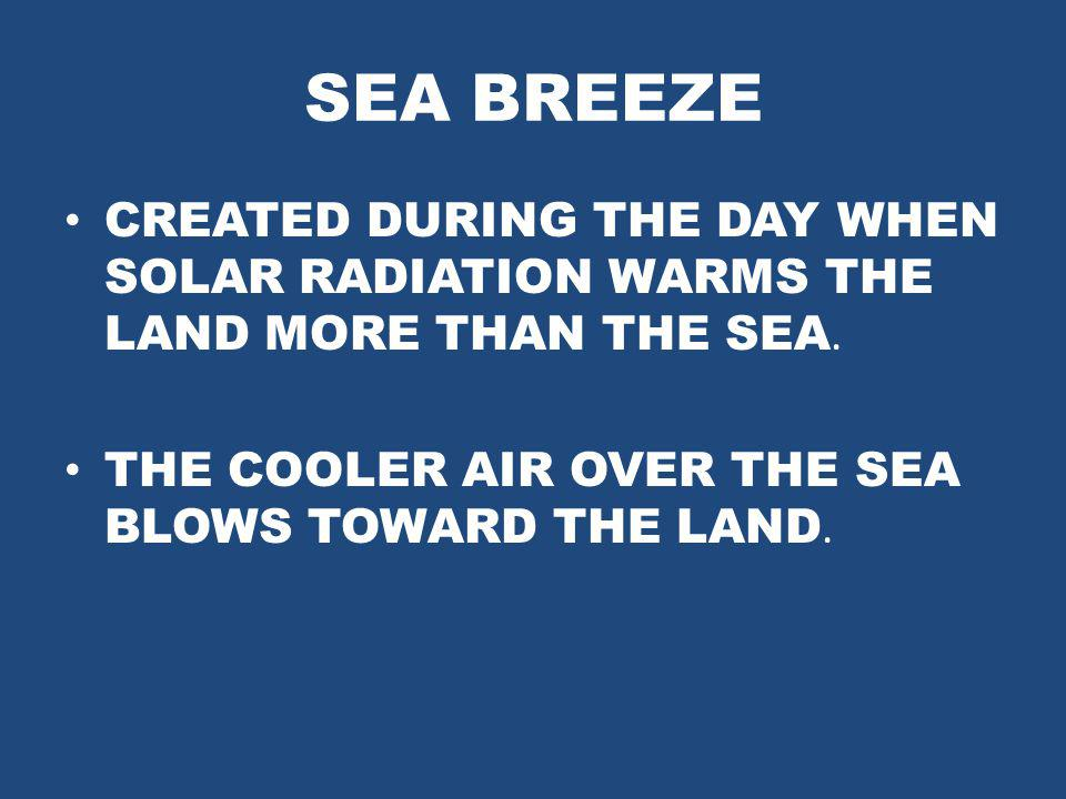 SEA BREEZE CREATED DURING THE DAY WHEN SOLAR RADIATION WARMS THE LAND MORE THAN THE SEA.