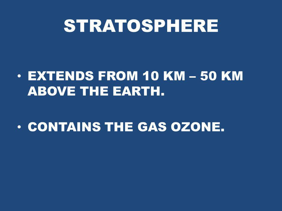 STRATOSPHERE EXTENDS FROM 10 KM – 50 KM ABOVE THE EARTH.