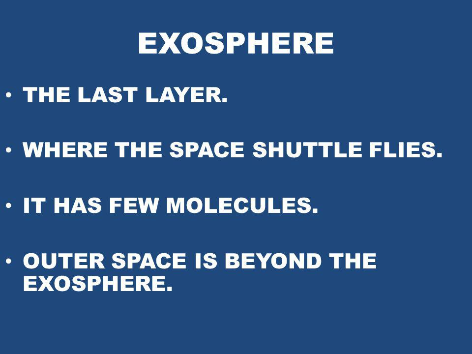 EXOSPHERE THE LAST LAYER. WHERE THE SPACE SHUTTLE FLIES.