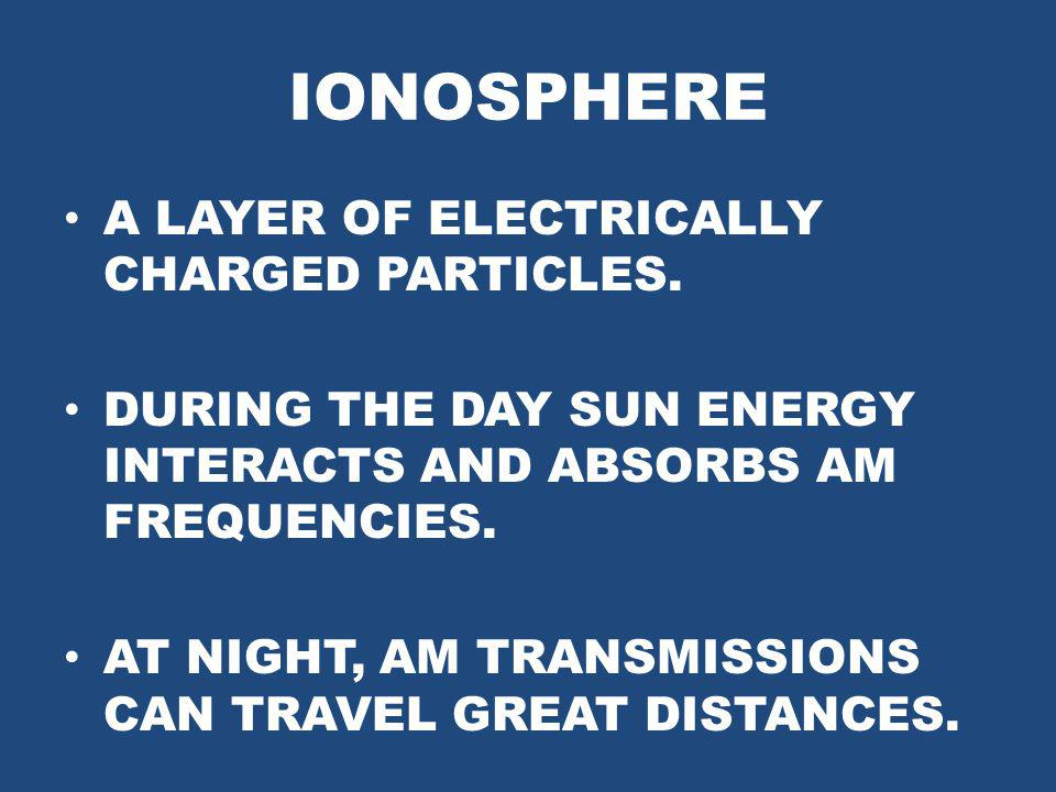 IONOSPHERE A LAYER OF ELECTRICALLY CHARGED PARTICLES.