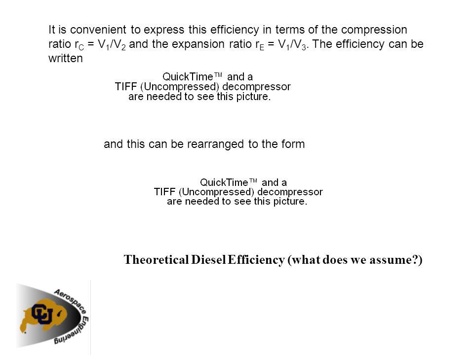Theoretical Diesel Efficiency (what does we assume )