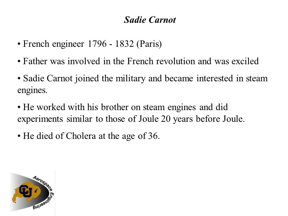 Sadie Carnot • French engineer 1796 - 1832 (Paris) • Father was involved in the French revolution and was exciled.