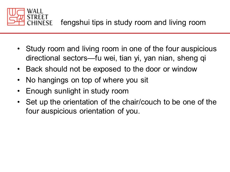 fengshui tips in study room and living room