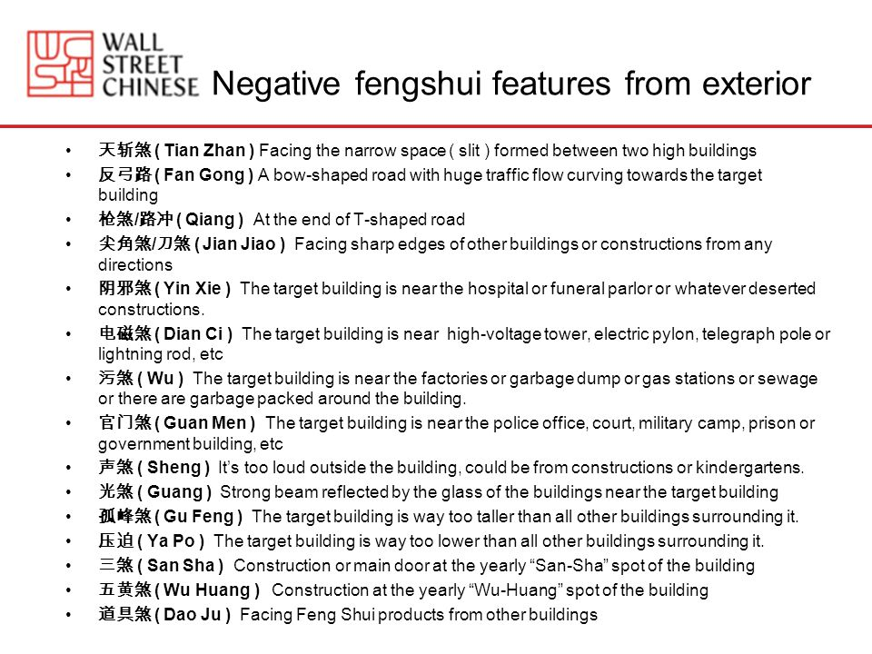 Negative fengshui features from exterior