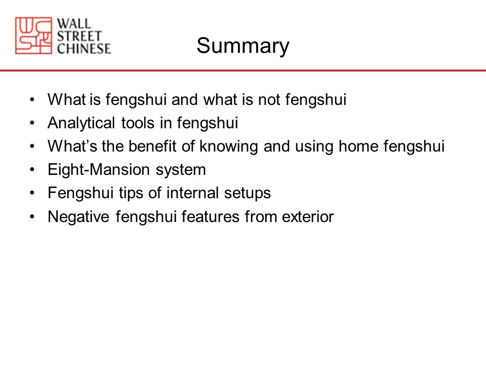 Summary What is fengshui and what is not fengshui