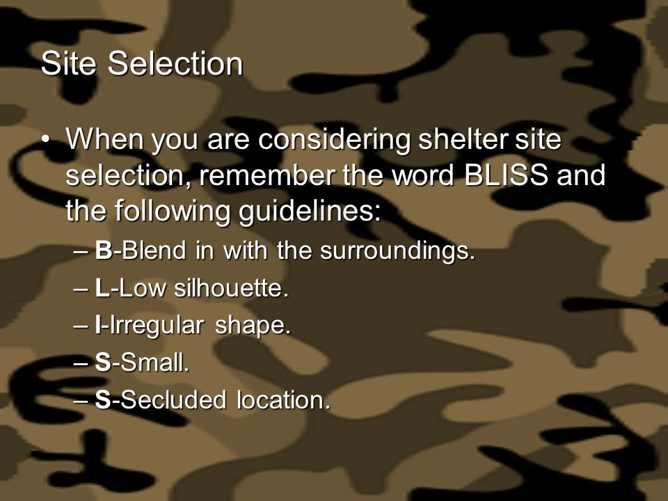 Site Selection When you are considering shelter site selection, remember the word BLISS and the following guidelines: