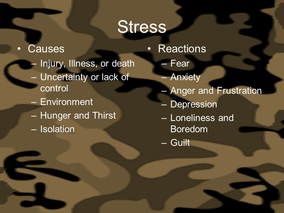 Stress Causes Reactions Injury, Illness, or death