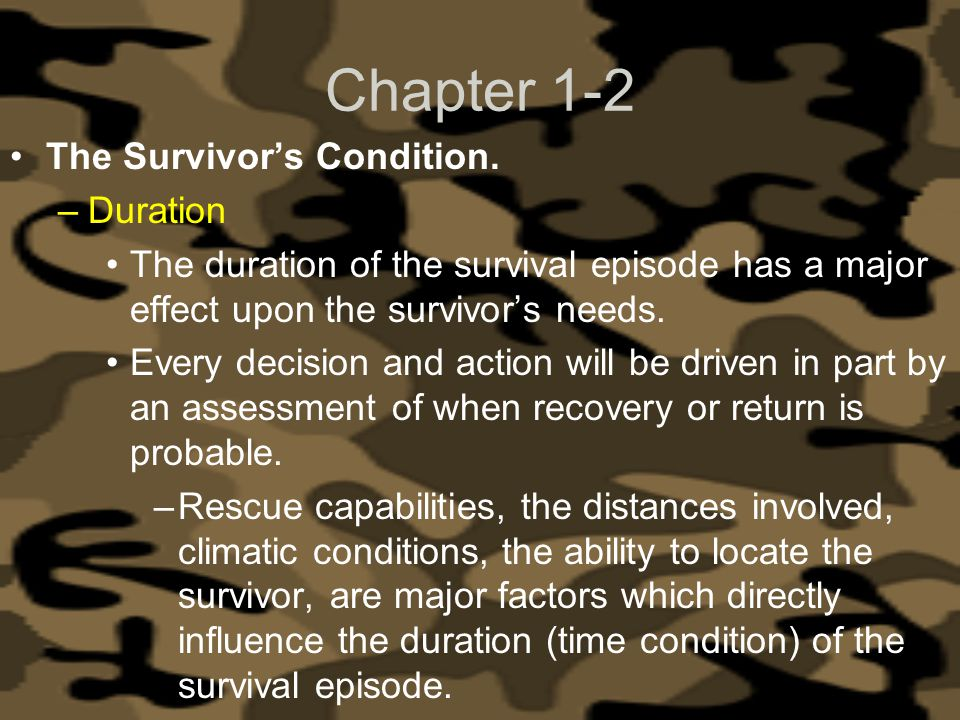 Chapter 1-2 The Survivor's Condition. Duration