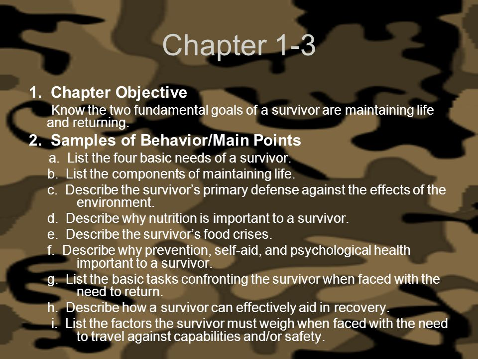 Chapter 1-3 1. Chapter Objective 2. Samples of Behavior/Main Points