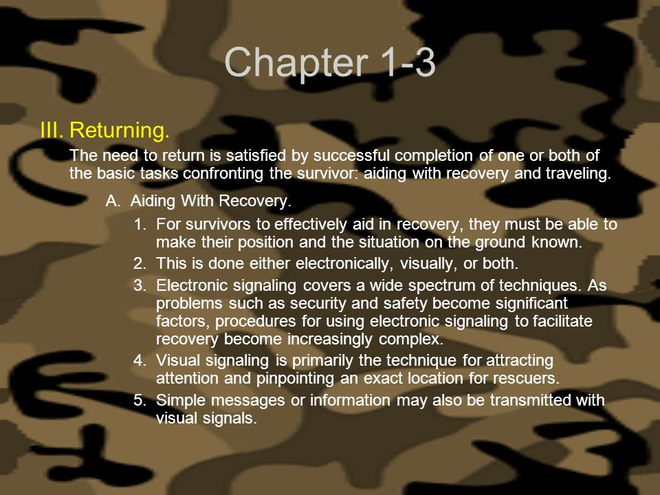 Chapter 1-3 Returning. A. Aiding With Recovery.