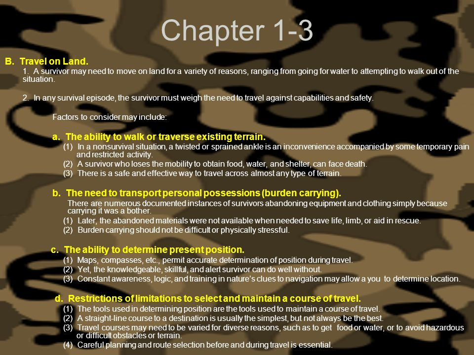 Chapter 1-3 B. Travel on Land.
