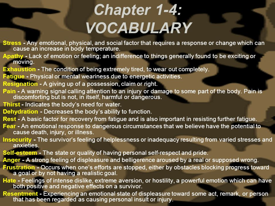 Chapter 1-4: VOCABULARY